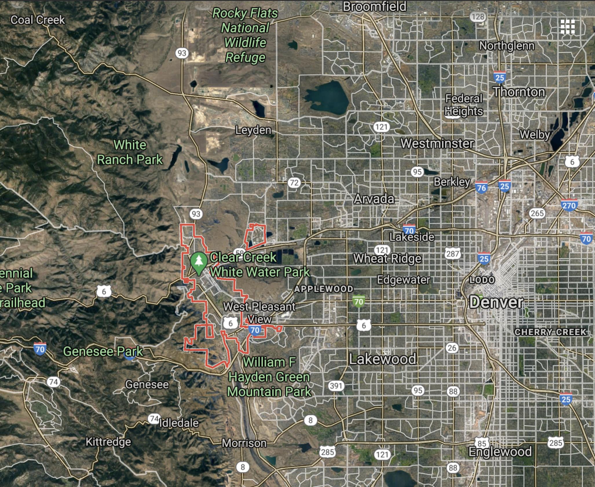 Mapa de Golden Colorado