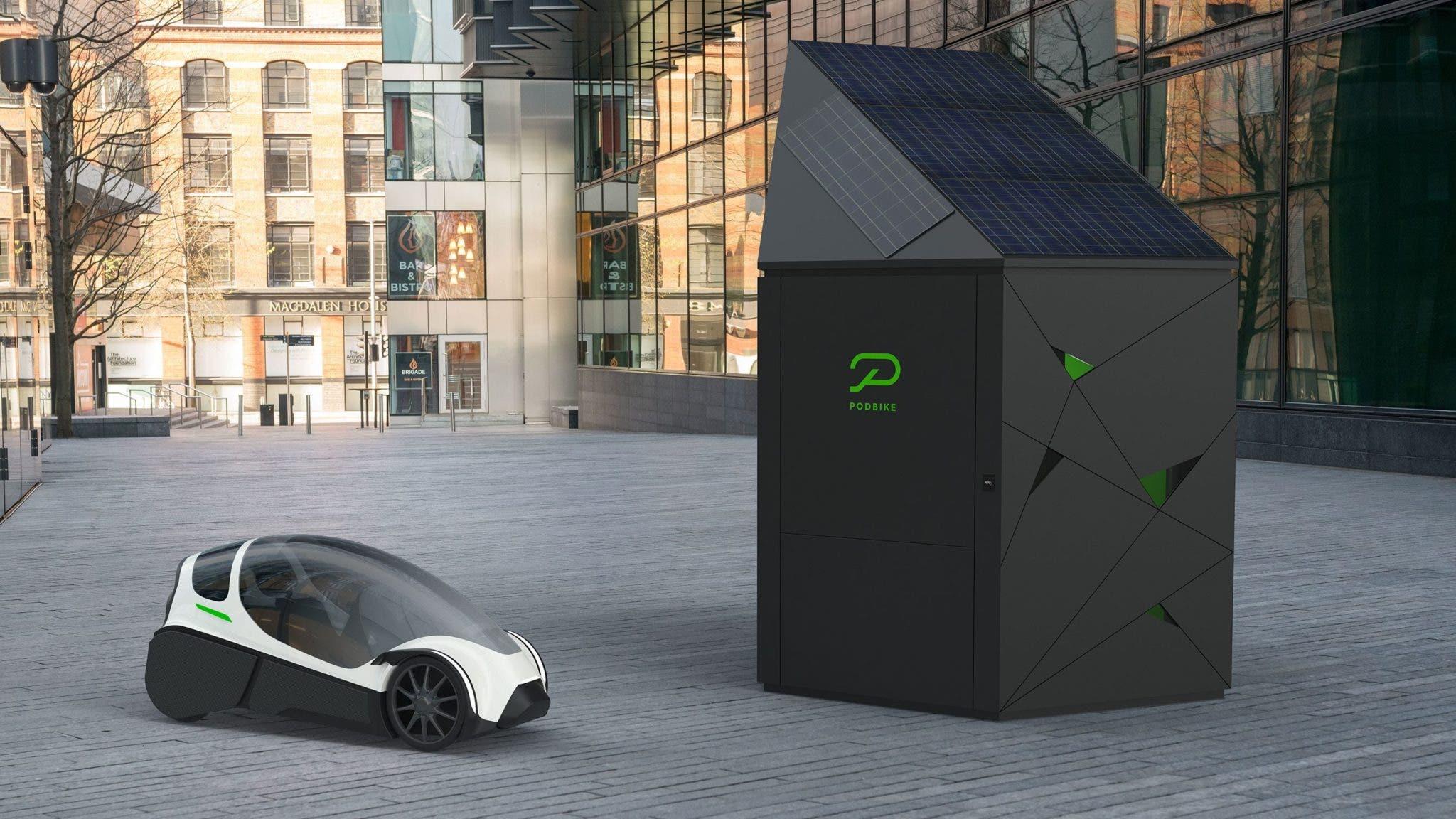Concepto de garaje velomóvil eléctrico PodBike
