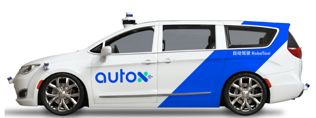 Imagen del robotaxi AutoX, usando la camioneta Chrysler Pacifica.