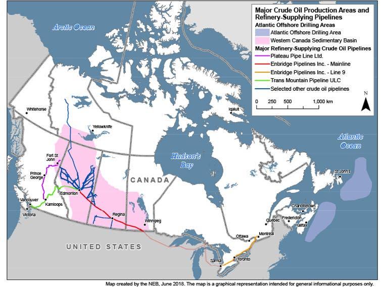 Mapa de Canadá superpuesto con oleoductos y áreas de suministro