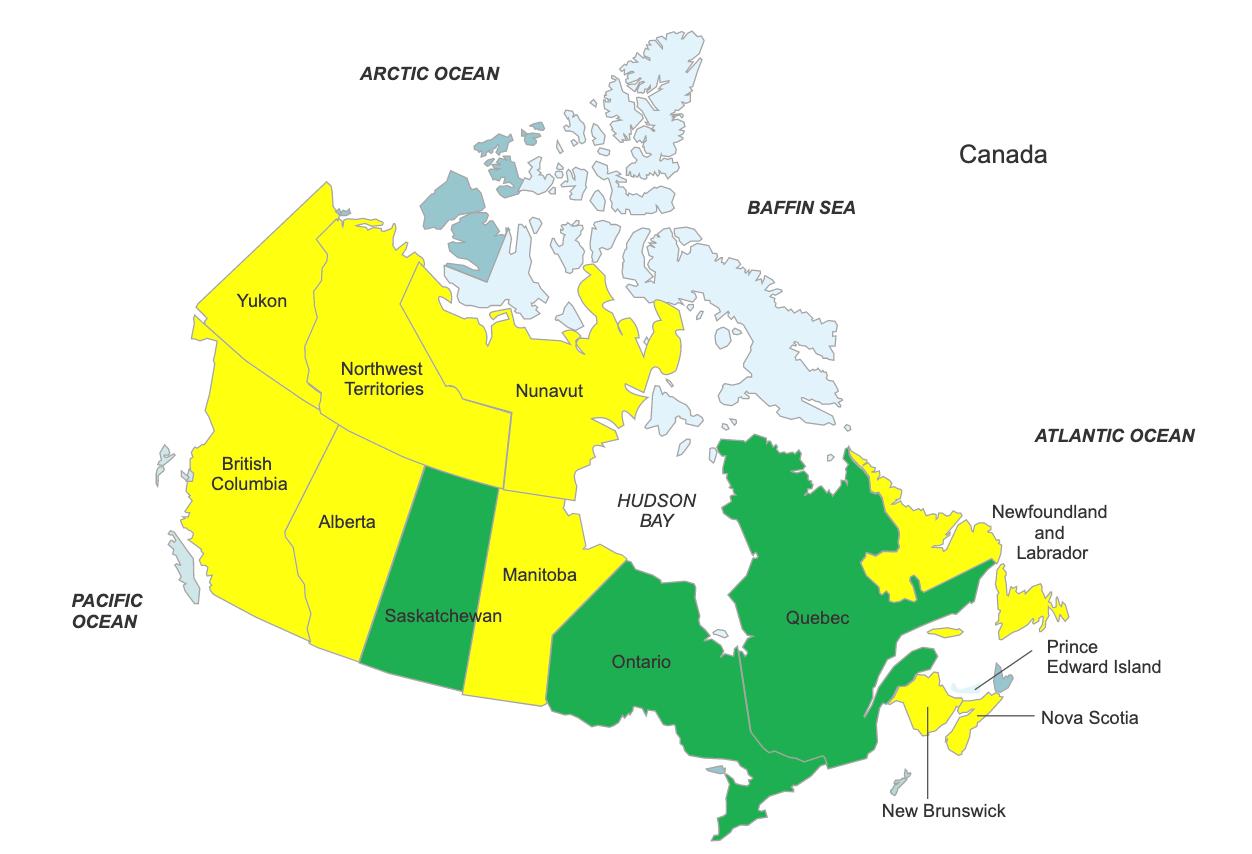 Mapa de Canadá que muestra a Saskatchewan, Ontario y Quebec como aprobando la acuamación.