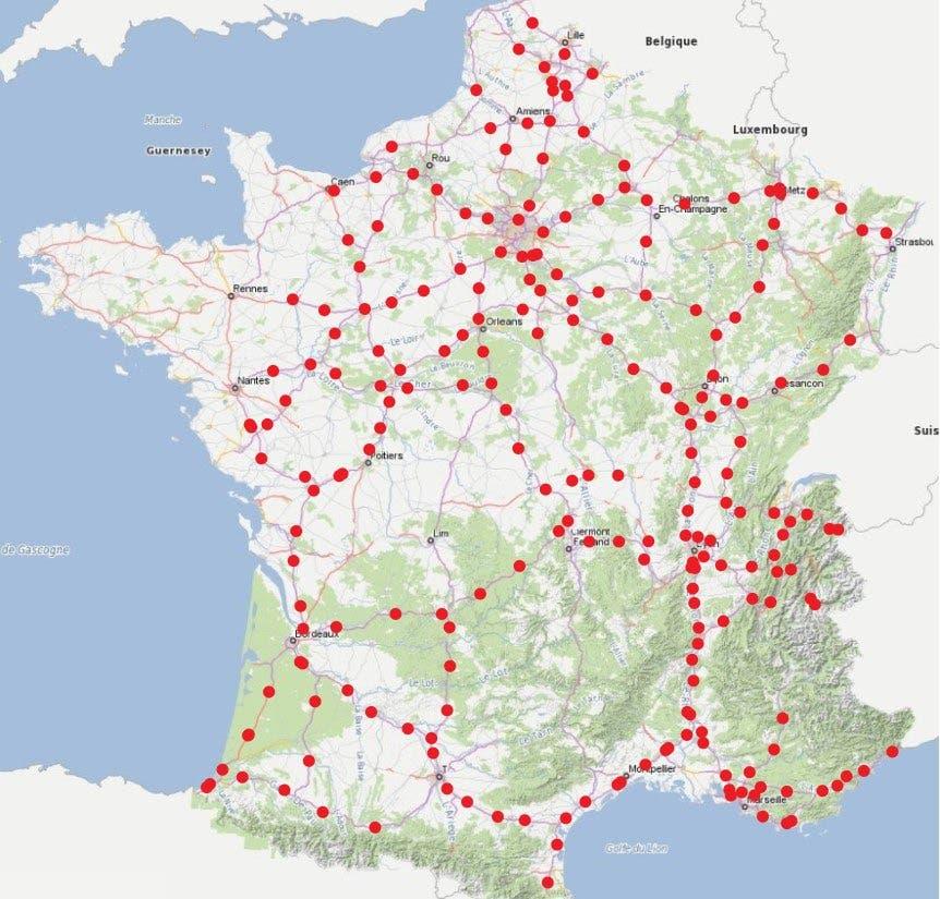 Lugares de descanso de la autopista francesa elegidos para estaciones de carga rápida.